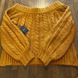 Brand new women's boat neck cable mustard sweater